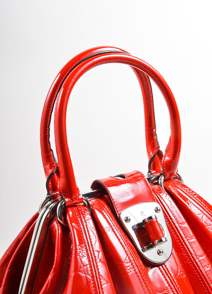 "Alexander McQueen Red Patent Leather ""Elvie"" Frame Handle Bag Detail 2"