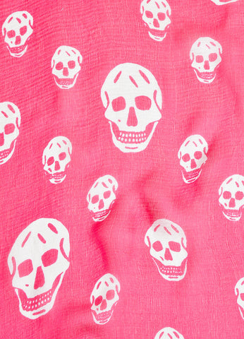 Alexander McQueen Pink and White Silk Skull Print Scarf Detail