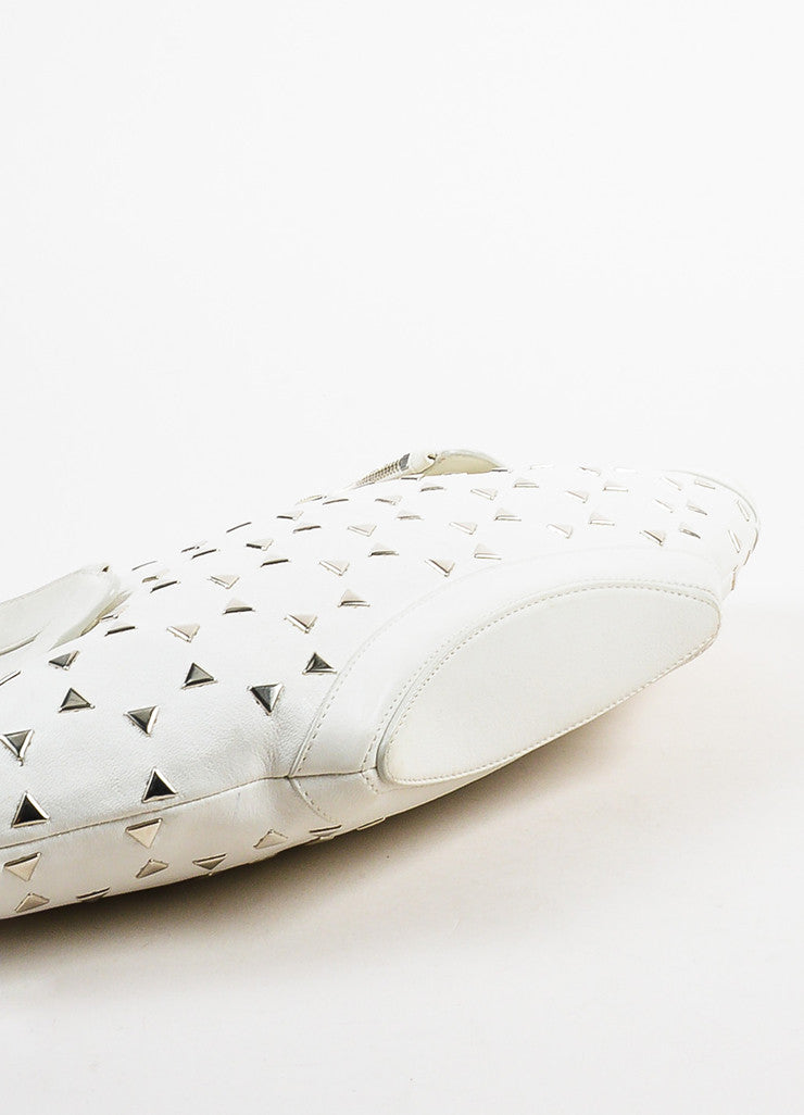 "Alexander McQueen White Leather Triangle Studded ""De Manta"" Clutch Bag Bottom View"