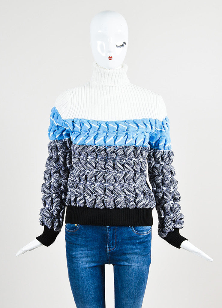 "White, Blue, and Black Alexander Wang ""Bubble Wrap Poseidon"" Sweater Frontview"