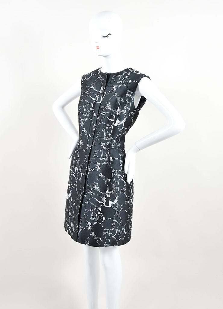 Balenciaga Black and White Cotton Marble Printed Jacquard Dress Sideview