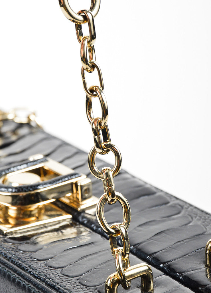 "Black Bally Leather and Crocodile ""Delfina"" Top Latch Chain Strap Box Bag Detail 2"