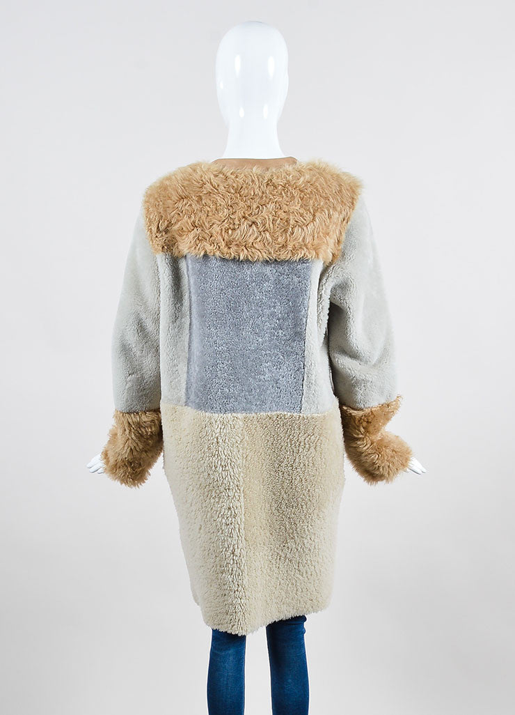 Tan, Grey, and Beige Belstaff Shearling Lambskin Reversible Coat Backview