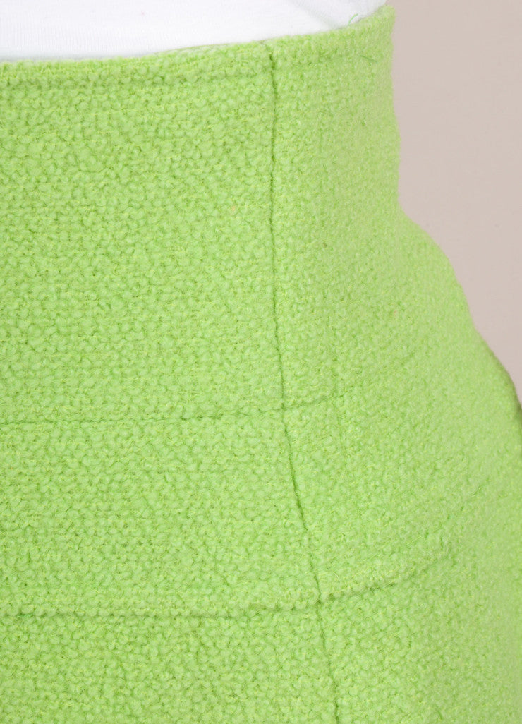 Chanel Lime Green Wool Boucle High Waisted Pencil Skirt Detail