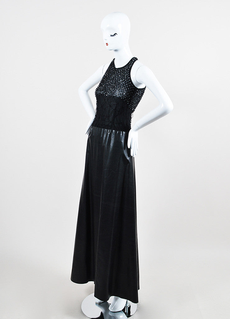Black Mesh Leather Strappy Rhinestone Embellished Sleeveless Dress Gown Sideview
