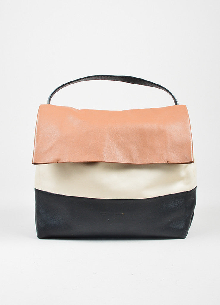 "Brown, Black, and Cream Leather Celine ""All Soft"" Fold Over Shoulder Bag and Pouch Frontview"