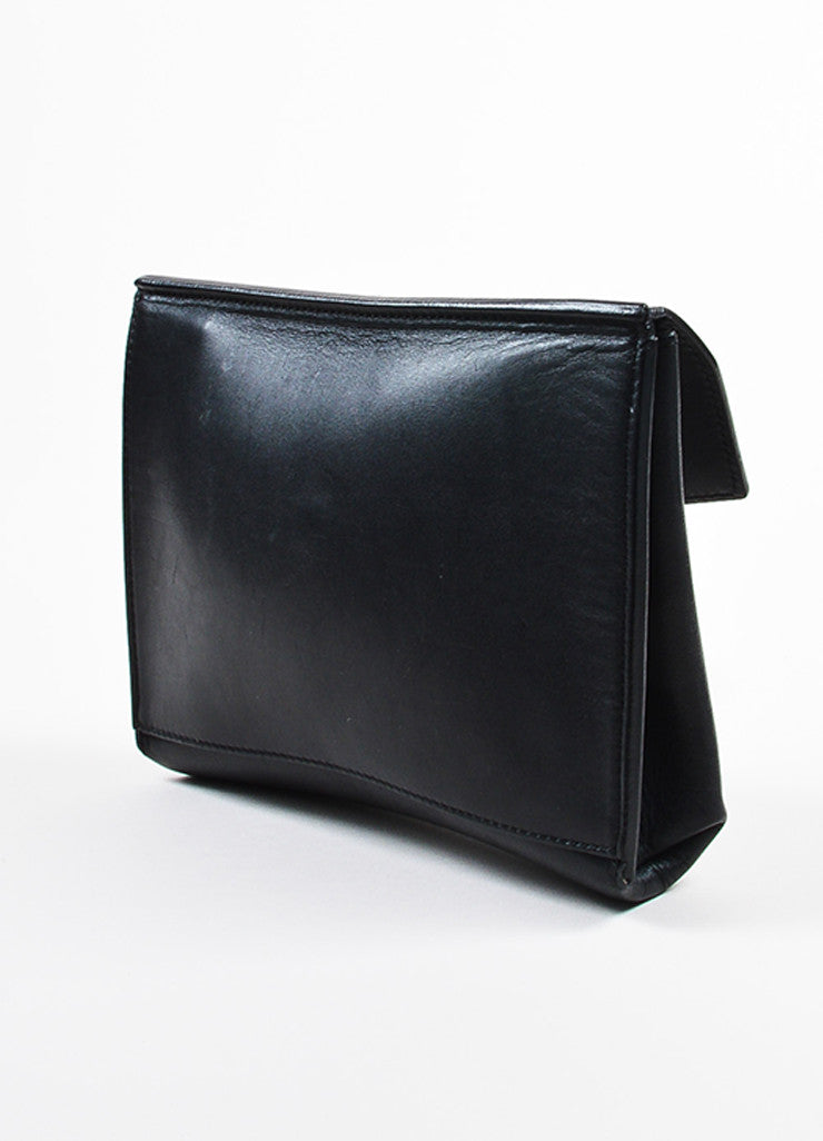 "Celine Black Leather Flap Top ""Medium Tie"" Tote Bag Pouch Sideview"