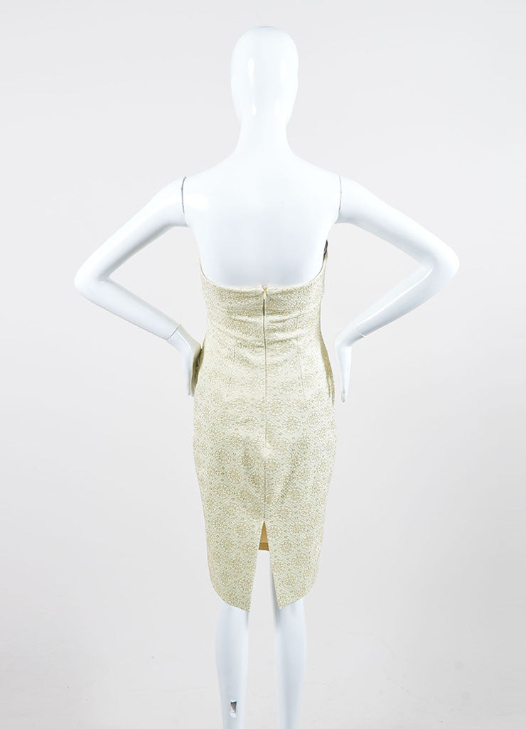 Cream and Gold Toned  Metallic Brocade Celine Strapless Dress Backview