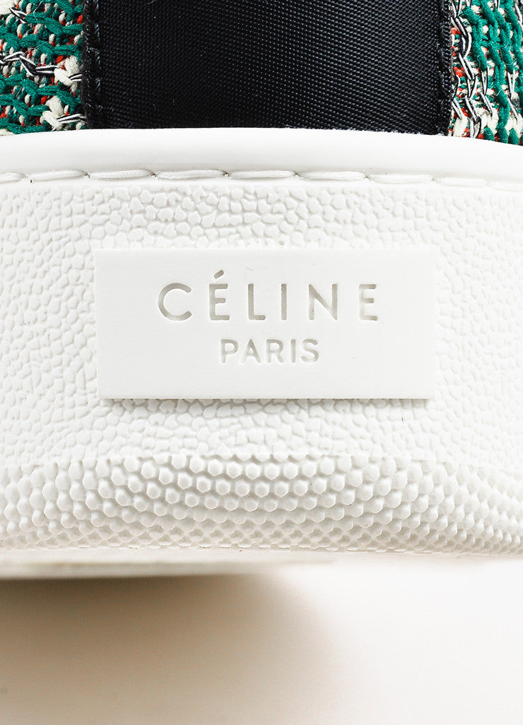 "Celine Green, Cream, and Red Tweed ""Love Life"" Limited Edition Sneakers Brand"