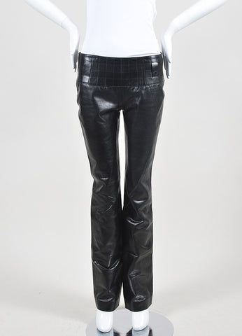 Black Chanel Leather Quilted Waist Boot Leg Pants Frontview