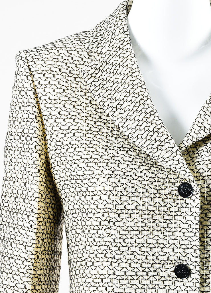 Cream and Black Chanel Wool Pattern Embroidered Notch Collar Button Jacket Detail