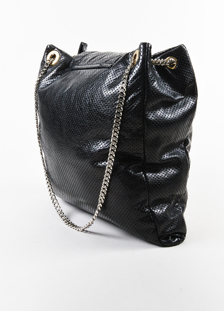 Black Chanel Perforated Leather Chain Strap Flap Tote Bag Back
