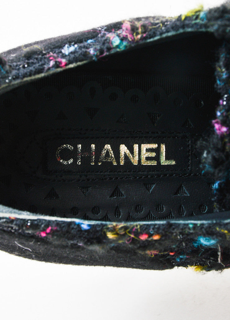 Black Multicolor Chanel Lace Up Tweed Platform Oxfords Brand