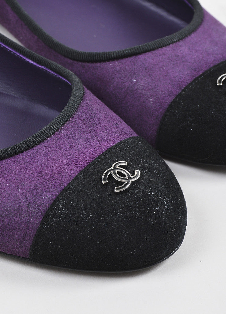 Purple and Black Chanel Suede Cap Toe 'CC' Ballerina Flats Detail
