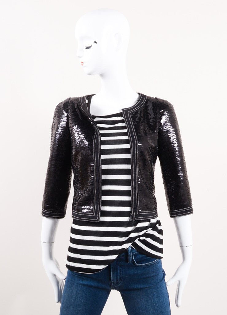Chanel New With Tags Black Sequin Embellished Cropped Zip Jacket Frontview