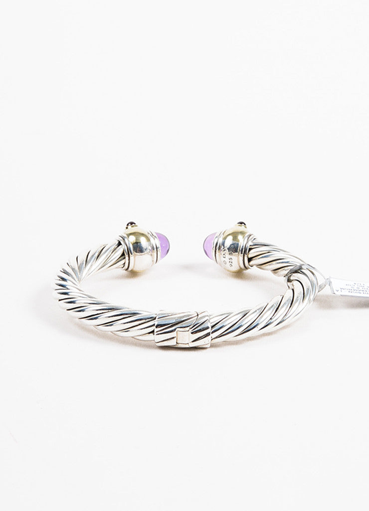 "Sterling Silver David Yurman Gold Amethyst ""Renaissance"" Cable Cuff Back"