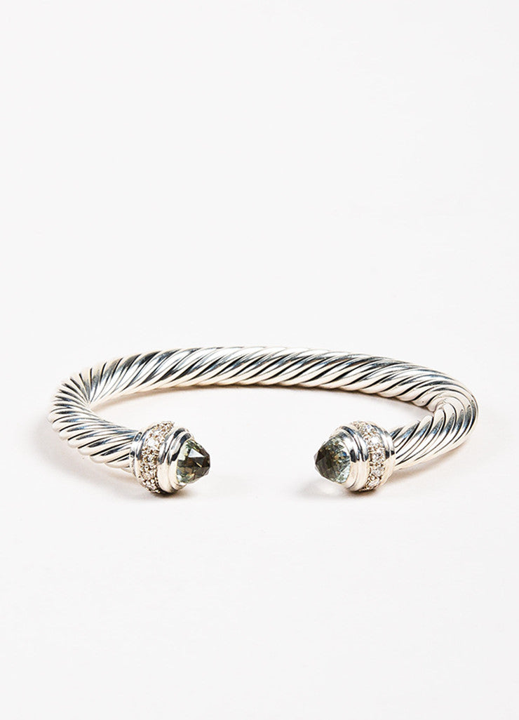 "David Yurman Sterling Silver Prasiolite 7mm ""Cable Classics"" Bracelet Front"