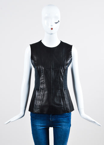 Black and Grey Derek Lam Leather Knit Paneled Top Front