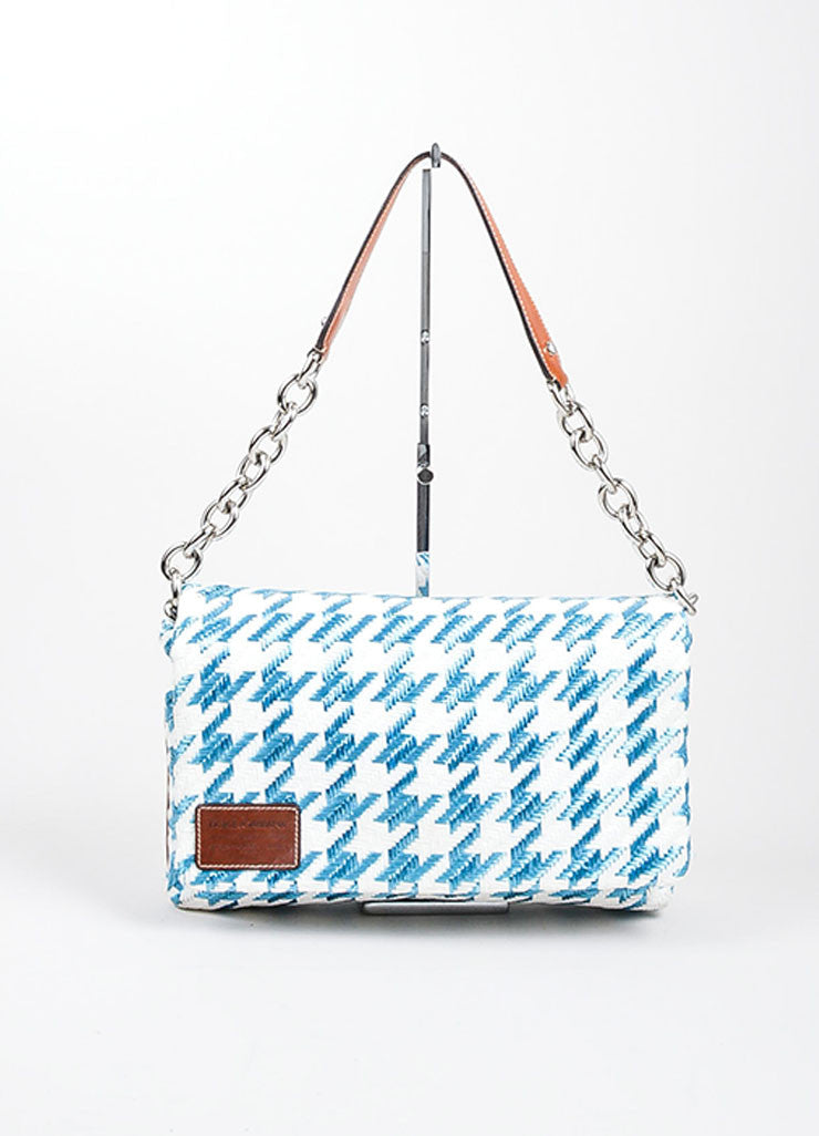 "Blue and White Dolce & Gabbana Houndstooth Raffia ""Miss Escape"" Chain Shoulder Bag Frontview"