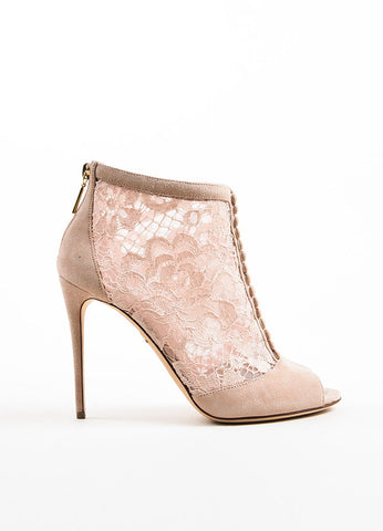 "Dolce & Gabbana Dusty Pink Suede Lace ""Keira"" Peep Toe Booties Sideview"
