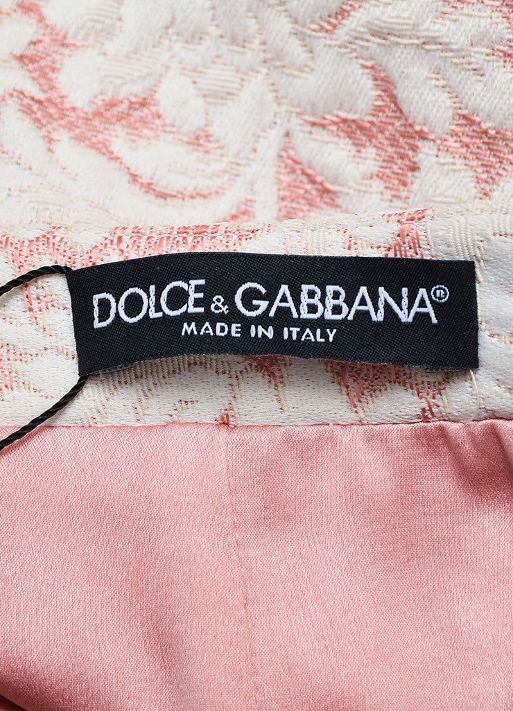 Dolce & Gabbana Pink and White Brocade Mini Skirt Brand