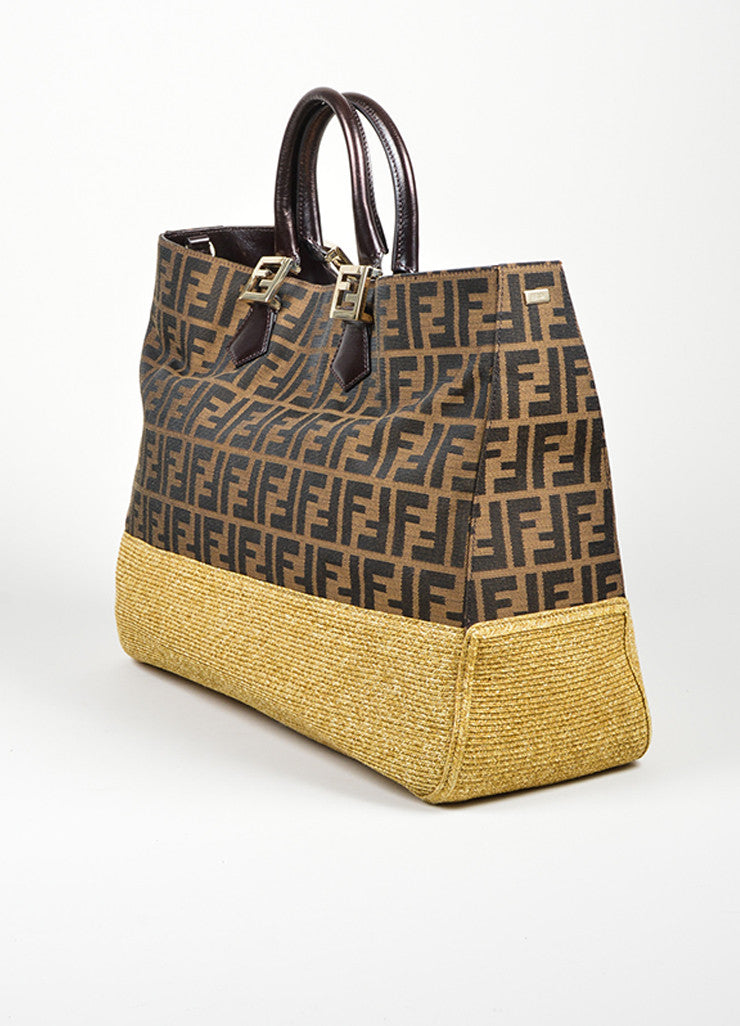 "Fendi ""Zucca and Straw Tobacco"" Brown Monogram Top Handle Tote Sideview"