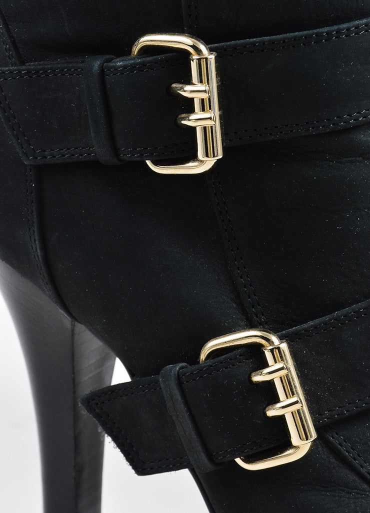 Fendi Black Suede Gold Toned Buckle Platform Heeled Ankle Booties Detail