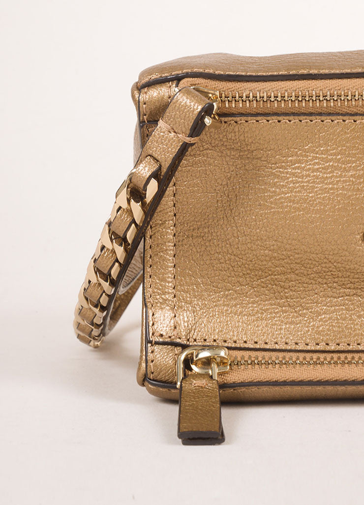 "Givenchy Gold Metallic Grained Leather ""Pandora"" Chain Wristlet Clutch Bag Detail 2"