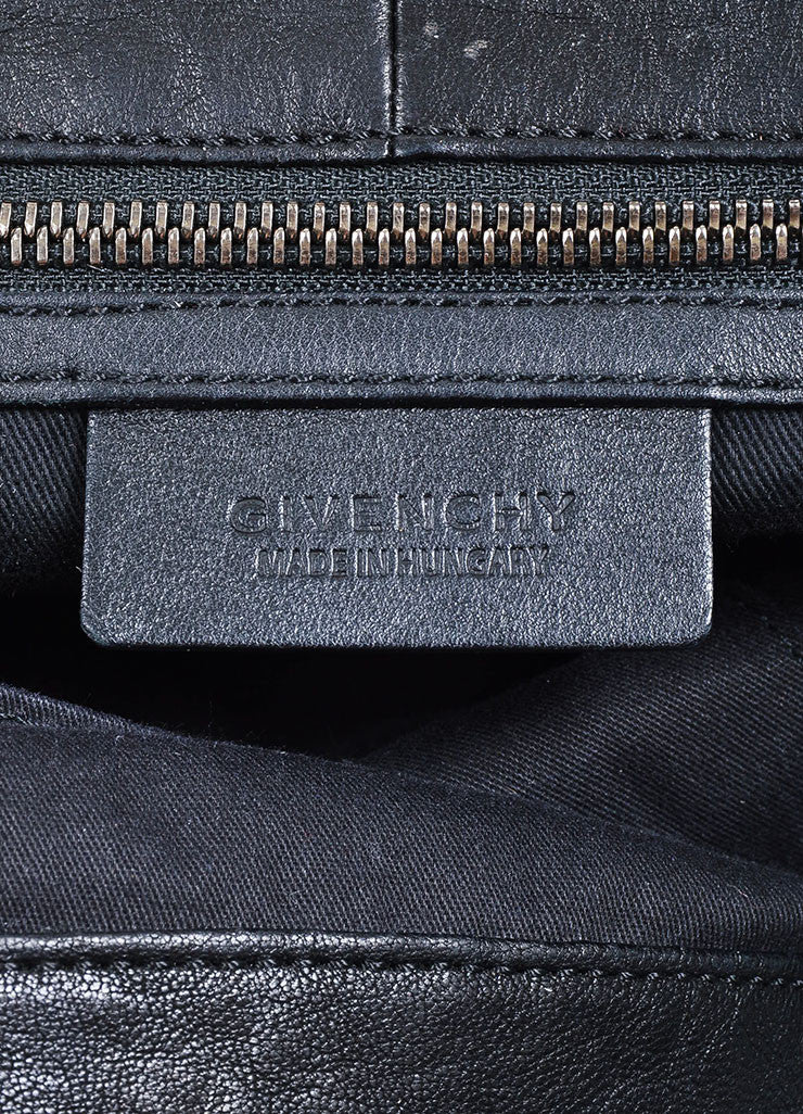 "Black Givenchy Leather Stitch Woven Trim ""George V"" Shoulder Tote Bag Brand"