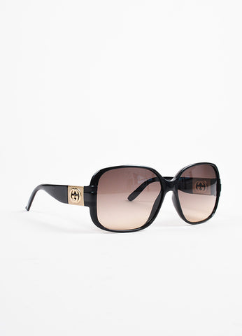 Gucci Black Gold Tone 'GG' Logo Oversized Sunglasses Front