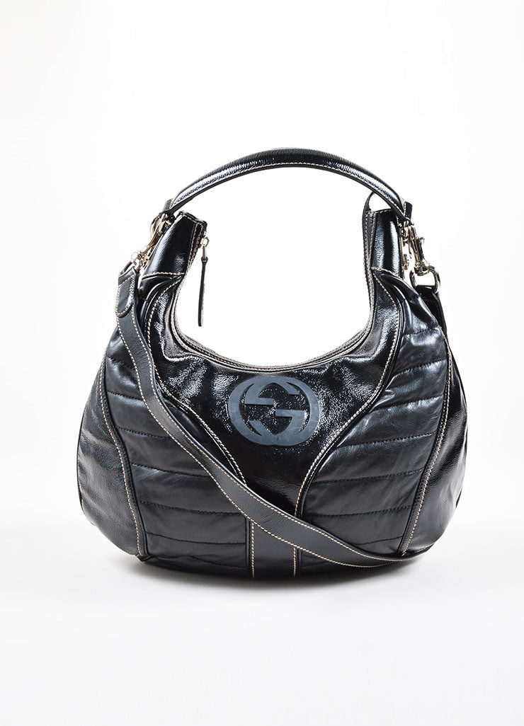 Gucci Black Patent Quilted Leather 'GG' Hobo Bag  Frontview