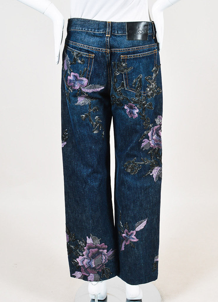 Gucci Blue, Lilac, and Metallic Silver Denim Floral Embroidered Wide Leg Jeans Backview