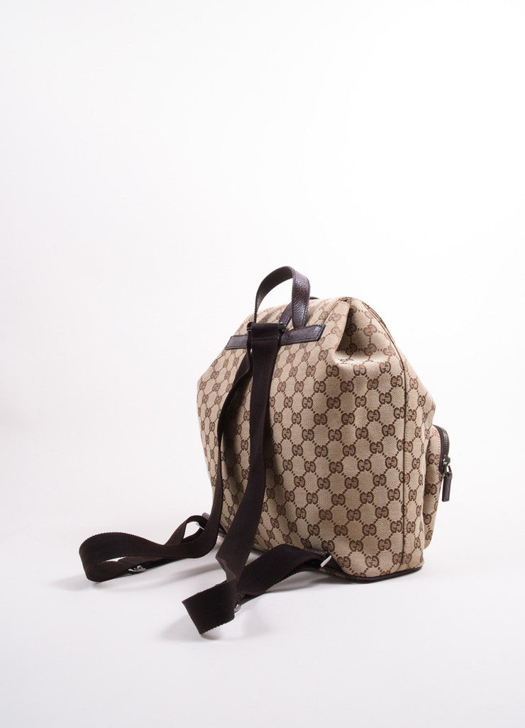 "Gucci Brown ""GG"" Monogram Canvas Backpack Backview"