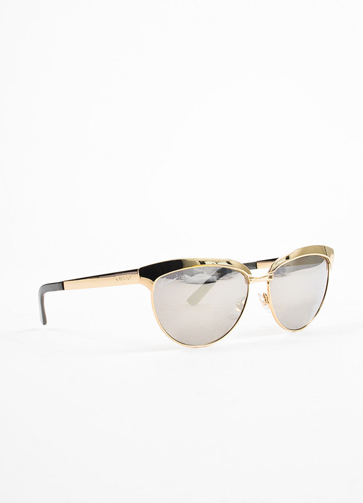 Gucci Gold Toned and Grey Mirrored Cat Eye Sunglasses Sideview
