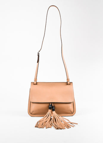 "Gucci Tan ""Bamboo Daily"" Oversized Fringe Tassel Crossbody Bag Front"