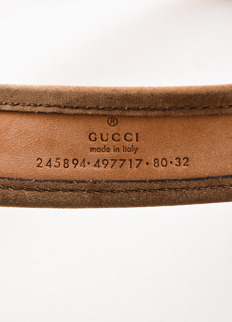 Gucci Tan Gold Toned Suede and Canvas Monogram Belt Brand