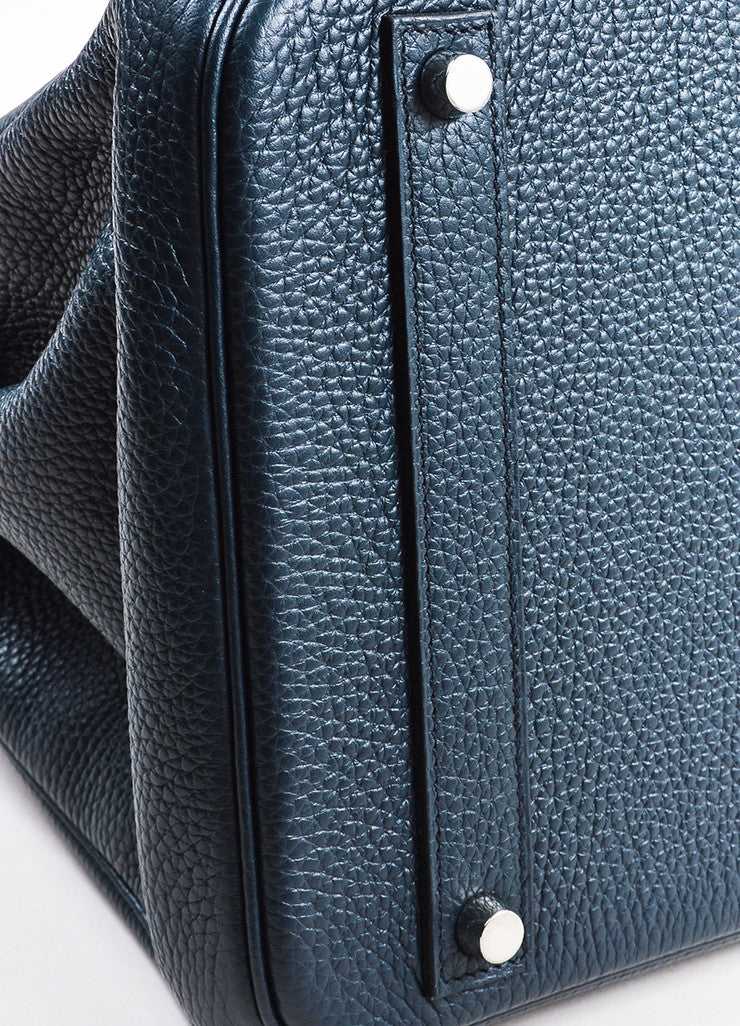 "Hermes Navy Blue Clemence Leather Palladium Hardware ""Birkin"" 40 cm Bag Detail"