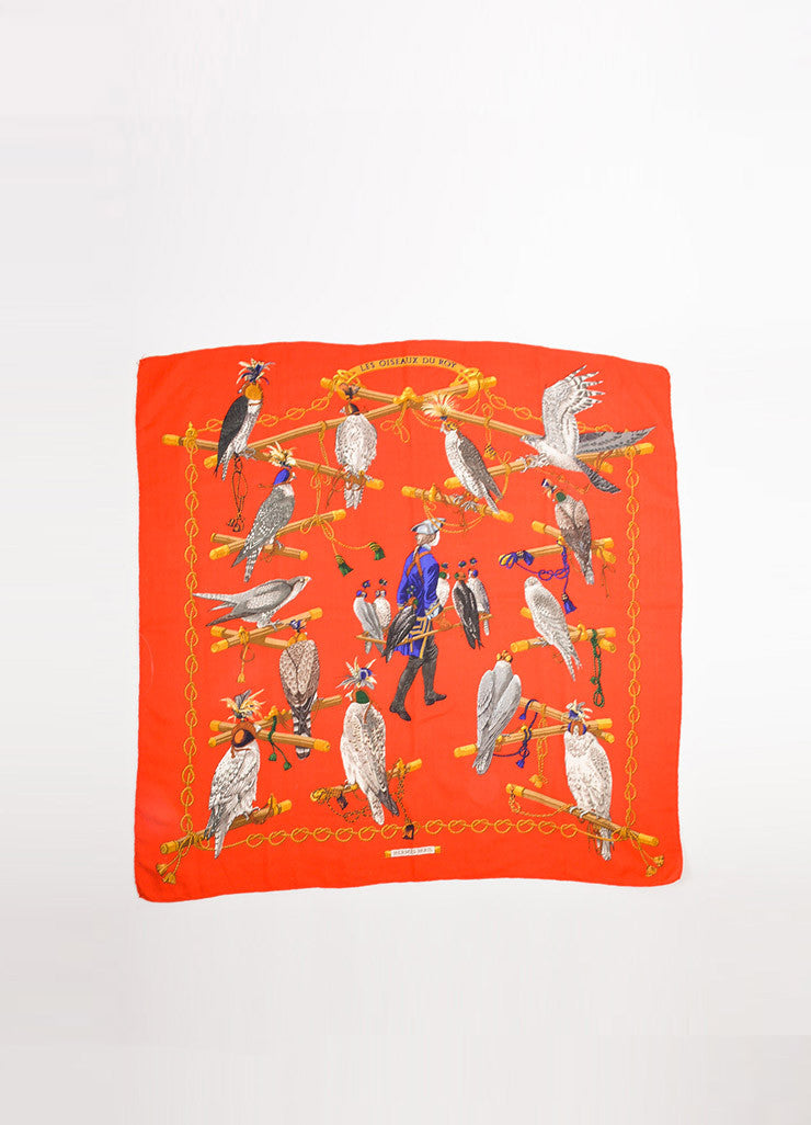 "Hermes Red and Multicolor Twill ""Les Oiseaux Du Roy"" Square Scarf Frontview 2"