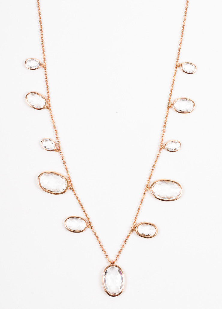 Ippolita Rose Gold Plated Clear Quartz Oval Dangle Graduated Pendants Necklace Detail