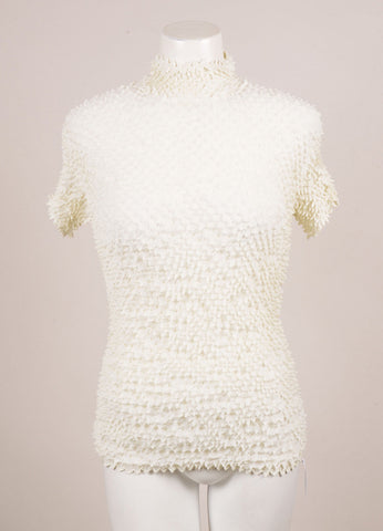 White Spike Smocked Short Sleeve Turtleneck Top