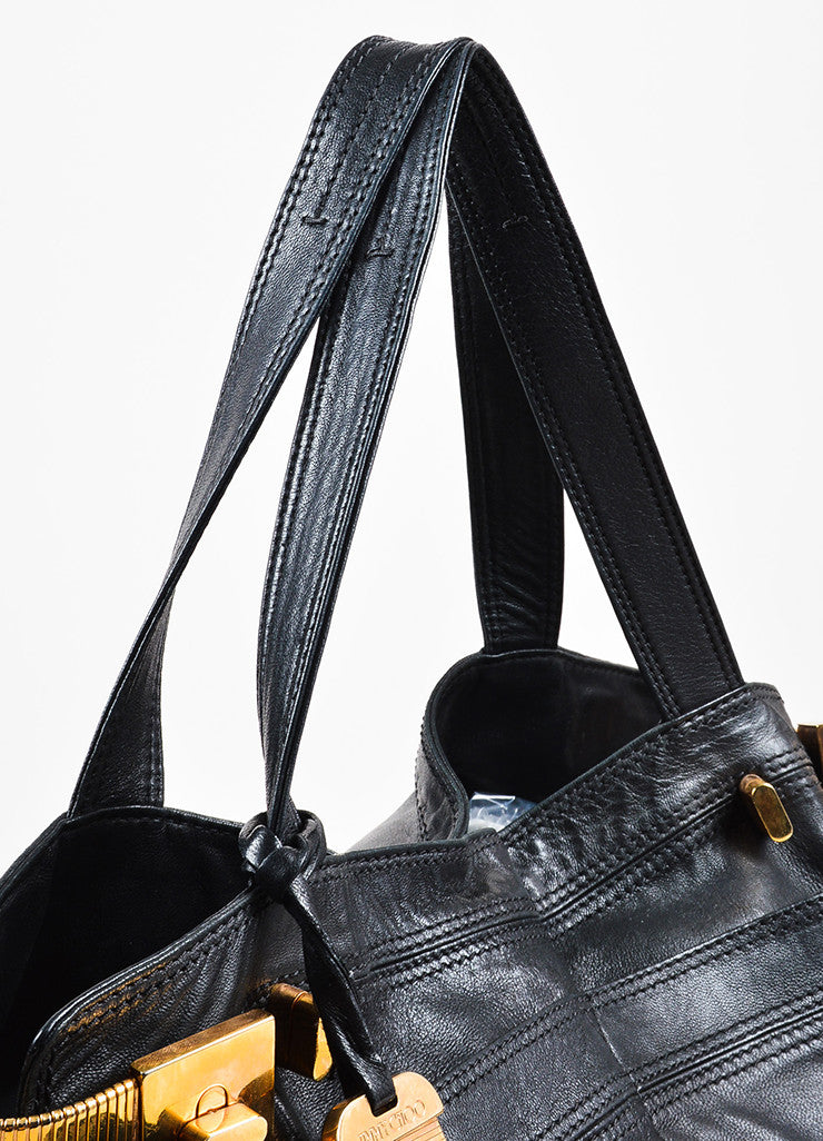 "Jimmy Choo Black Leather Gold Toned Metal ""Elsa"" Tote Bag Detail 2"