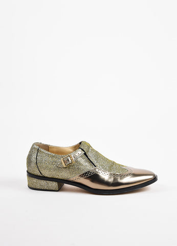 "Jimmy Choo Silver Gold Black Metallic Leather ""Bay"" Brogue Loafers Side"