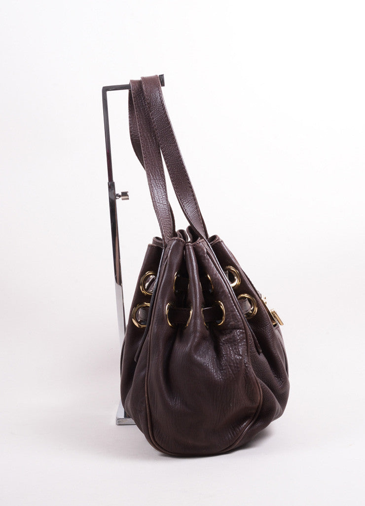 "Jimmy Choo Chocolate Brown Leather ""Ramona"" Belted Grommet Hobo Bag Sideview"
