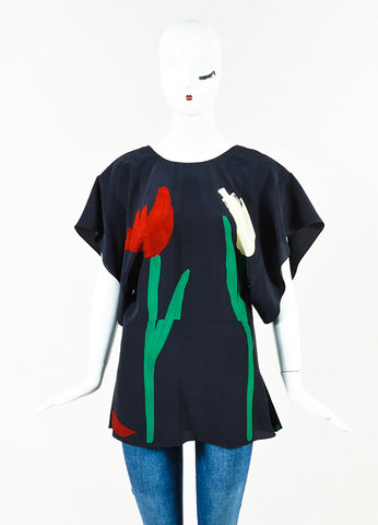 Marni Black Red Green Silk Tulip Print Flutter Short Sleeve Top Front