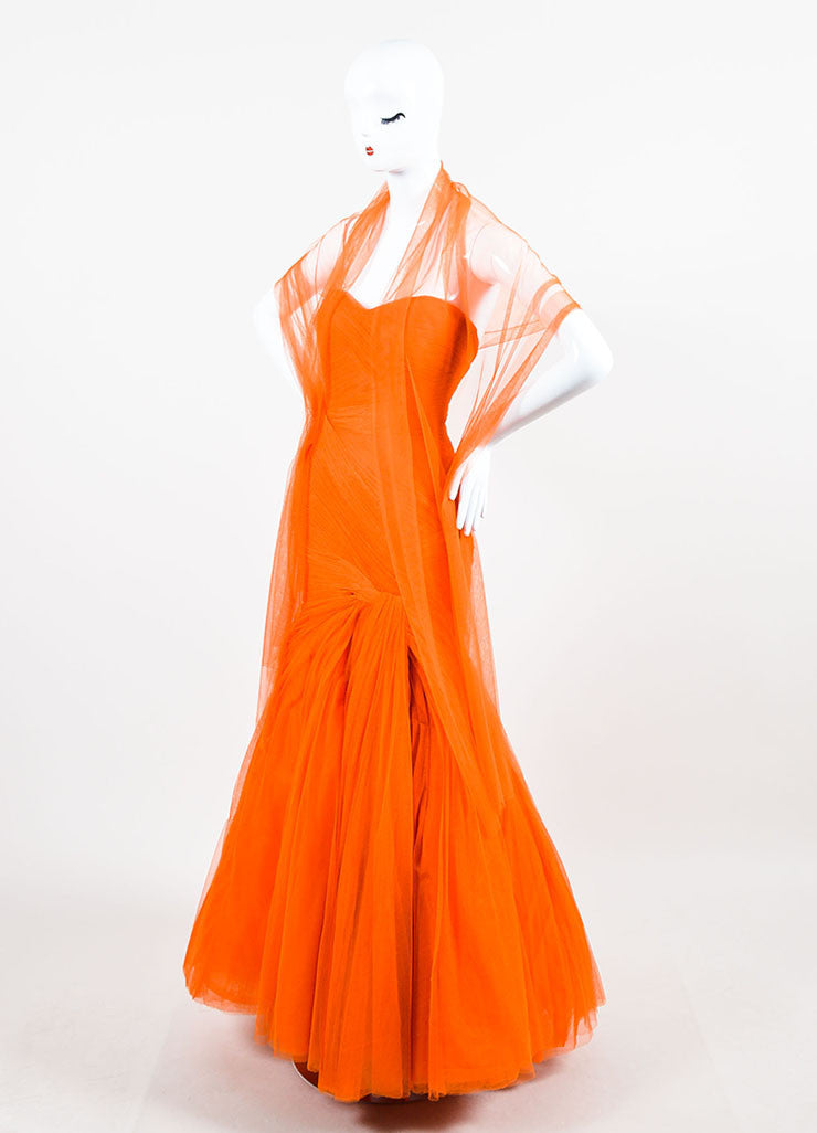 Monique Lhuillier Orange Strapless Mesh Tulle Full Gown Sideview