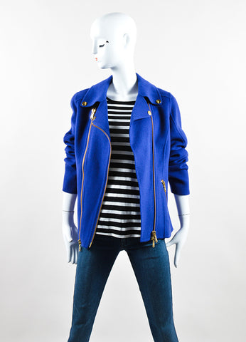 Moschino Cheap and Chic Royal Blue Wool Double Zipper Coat Frontview