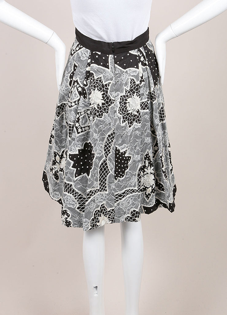 Naeem Khan Black and White Silk Lace Embroidered Floral Pleated A-Line Skirt Backview