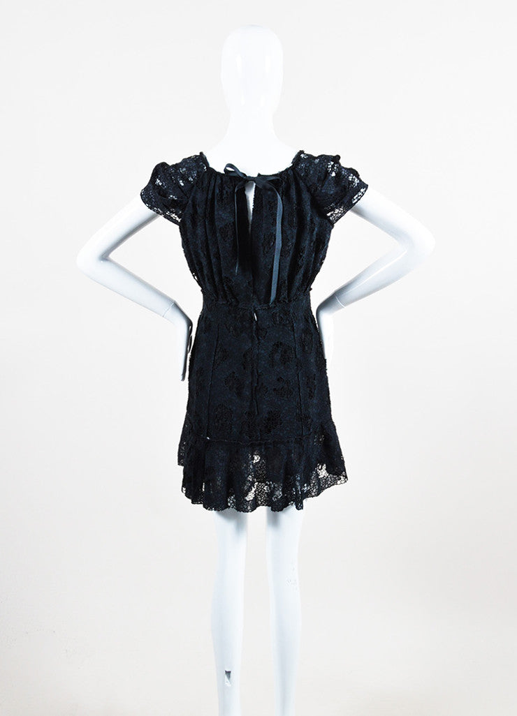 Nina Ricci Black Cotton Lace Short Sleeve Dress Backview