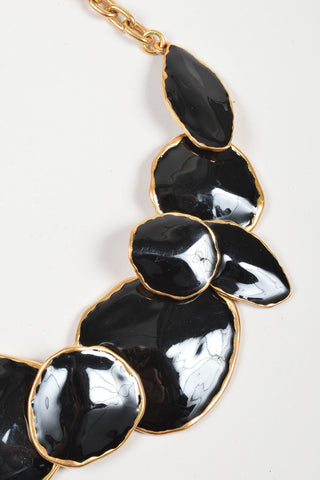 Oscar de la Renta Gold Toned and Black Enamel Oversized Chunky Medallion Necklace Detail