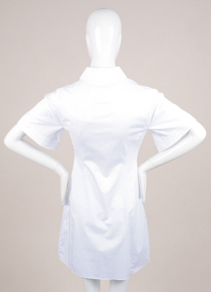 "Peter Pilotto New With Tags White and Black Poplin and Silk Lace Trim ""Cate"" Dress Backview"